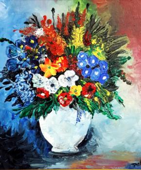 Flower-Vase-Acrylic-On-Canvas-40x40cm