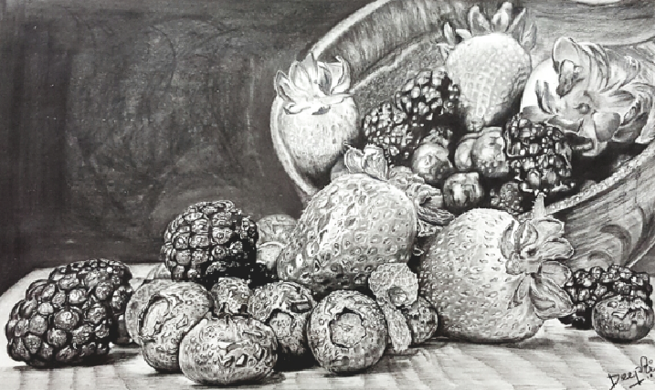 The Composition of Berries, 29 X 74cm